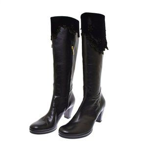 Angeli Inquieti Black Leather Suede Tall Women's Boots 40 US 10 NEW Floral Cut